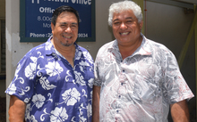 Democratic Party leader William 'Smiley' Heather with deputy leader Tama Tuavera (left)
