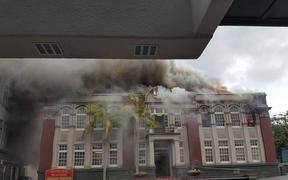The fire at the Municipal Building on Bank Street in central Whangārei.