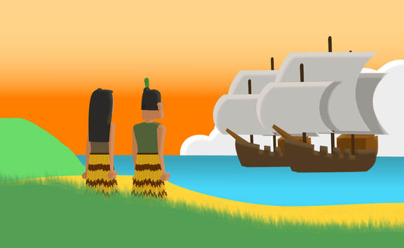 Maori on shore witness the arrival of European ships. Animation by Chris Maguren