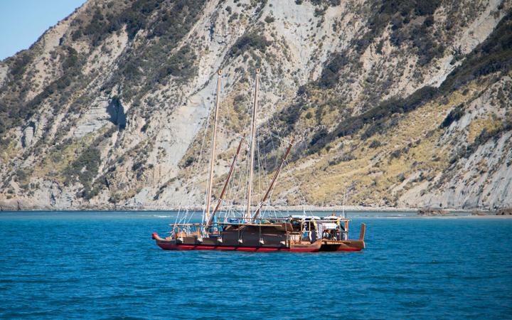 Ngahiraka Mai Tawhiti anchored in Anaura Bay ahead of the overnight sail to Taranganui-a-Kiwa.