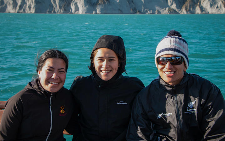 The three trainees on board waka Haunui Arie (L), Arihata, Manaaki-Ao.