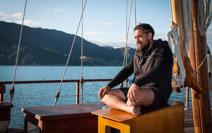 Captain John Reid briefs the crew ahead of the overnight sail to Gisborne.