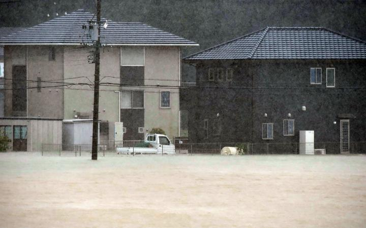 Residential area is covered with water in Kushibe Town, Mie prefecture.