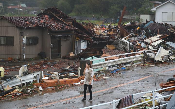 Houses are damaged by strong wind that is considered to be tornado in Ichihara, Chiba prefecture on Oct. 12, 2019, as Typhoon Hagibis, a massive Category 5 storm, is approaching to Japan.