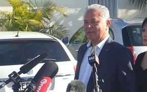 John Tamihere addresses media at the conclusion of his unsuccessful mayoral campaign.