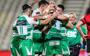 Manawatu players celebrates the win over Canterbury.