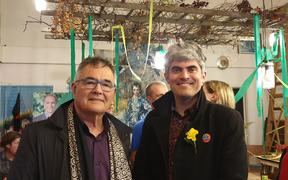 Former Dunedin Mayor Dave Cull with new Dunedin Mayor Aaron Hawkins at a celebration at the Dunedin cafe, Morning Magpie.