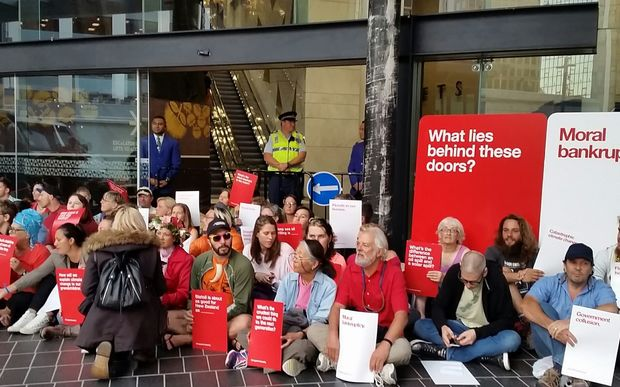 Environmental protesters at a petroleum industry conference in Auckland