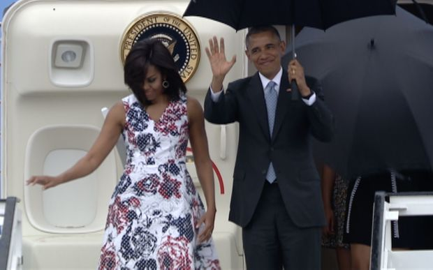 US President Barack Obama and First Lady Michelle Obama arrive March 20, 2016 in Havana, Cuba.