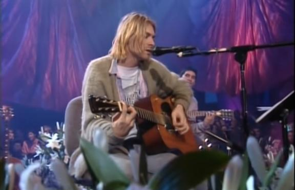 Kurt Cobain performing with Nirvana for  MTV Unplugged, 1993.