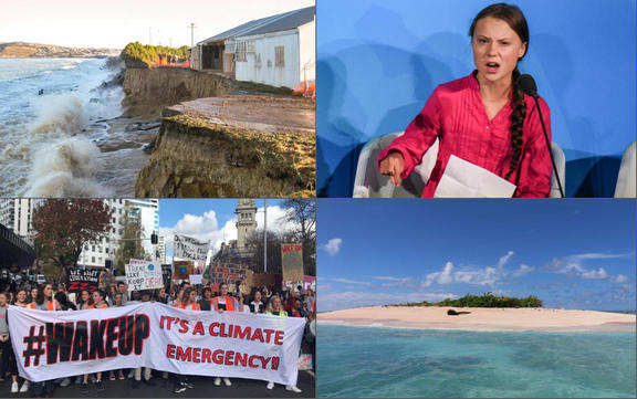 The coastal cliffs at Oamaru were washed away in 2017, climate activist Greta Thunberg, climate protest in Auckland, small island of Tuvalu.