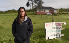 Pania Newton at Ihumātao a few weeks before police arrived to evict her and others from the land.