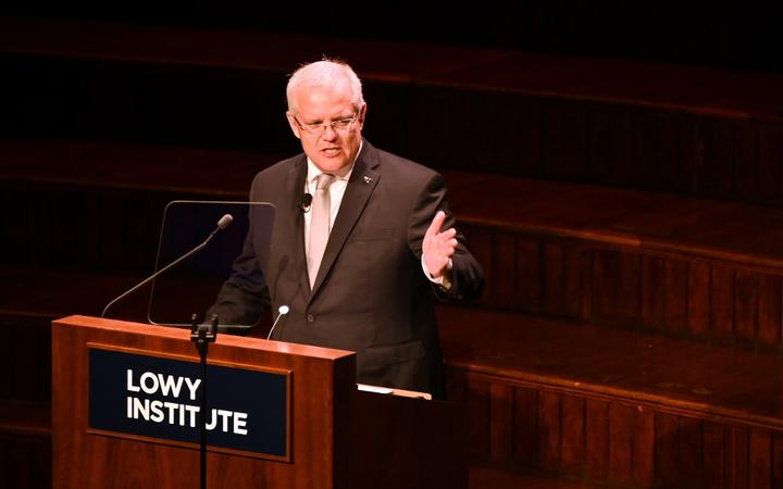 Australia's Prime Minister Scott Morrison speaking at the Lowy Lecture, an annual event at the foreign affairs think-tank where the speaker delivers a speech on Australia's place in the world.