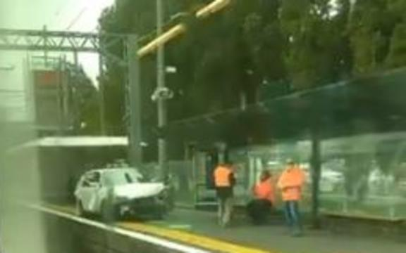 A car fleeing police drove onto the platform at Middlemore station.