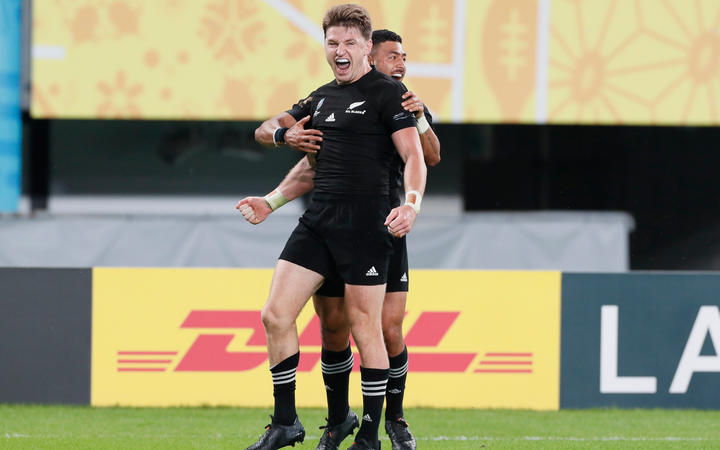 Beauden Barrett after his try with Richie Mo'unga during the first half of New Zealand v Ireland quarterfinal at Rugby World Cup 2019.