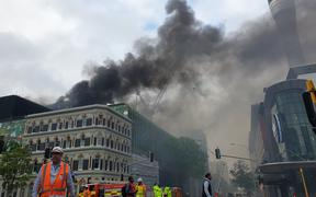 Smoke fills the air around Auckland CBD near the SkyCity convention centre, where a fire broke out.