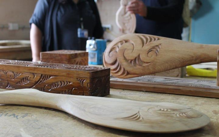 One long-term inmate at Hawke's Bay prison takes part in mau rākau training and is now learning the art of whakairo, or carving.