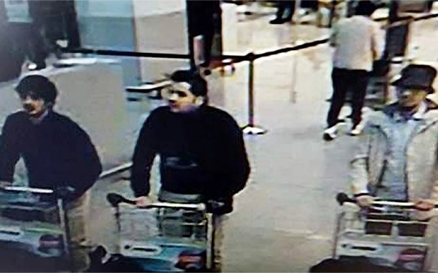 The suspects caught on camera at Zaventem airport.