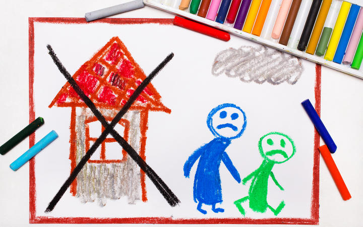 Colorful drawing: Two sad people leave their home. The problem of homelessness, eviction or moving out