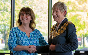 New Christchurch City Council chief executive Dawn Baxendale greets returning mayor Lianne Dalziel.