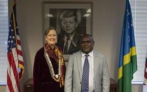 Peace Corps Director Jody Olsen and Harry Kuma, minister of Finance and Treasury of Solomon Islands.