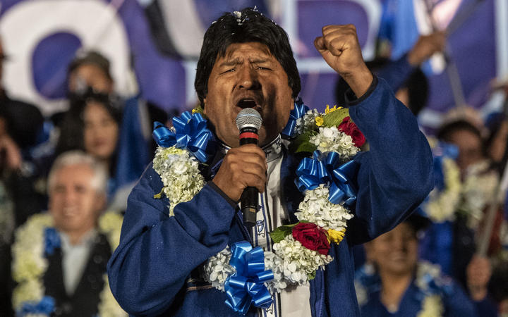 Bolivia's President and presidential candidate Evo Morales gestures during a political rally in El Alto, Bolivia, on October 16, 2019 ahead of the October 20th presidential elections.