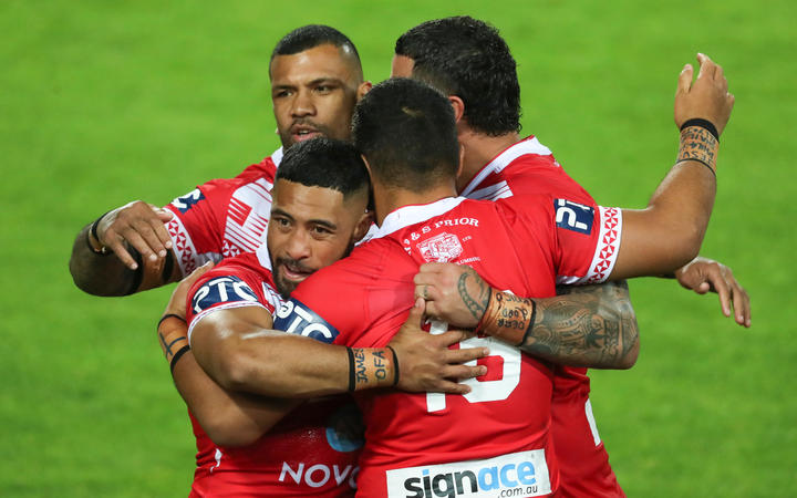 The Tonga Invitational XIII celebrate beating Great Britain.