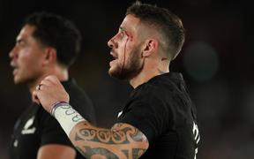 New Zealand's TJ Perenara reacts during the second half of the Semi-Finals in the 2019 Rugby World Cup Japan against England at International Stadium Yokohama in Yokohama, Kanagawa Prefecture on Oct. 26, 2019.