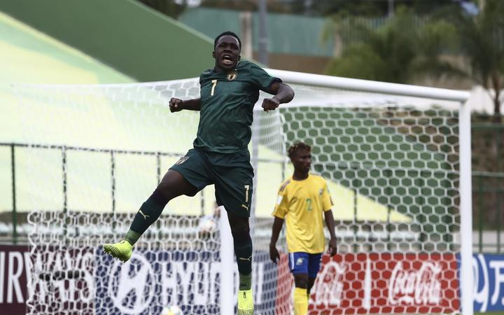 Italian striker Degnand Ngonto celebrates one of his two goals in Italy's 5-0 thumping of Solomon Islands at the FIFA U-17 World Cup in Brazil. 28-10-2019