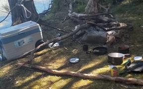 Several rubbished-strewn campsites were found over Labour Weekend on the lake shore, under the Panekire Ranges, included large fire sites near native bush, lots of ground cleared and native bush cut down for firewood.