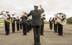 The Royal New Zealand Navy Band at the Auckland War Memorial Museum.
