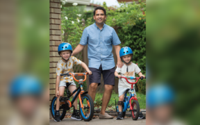 Simon Bridges with his sons in National's policy discussion document.
