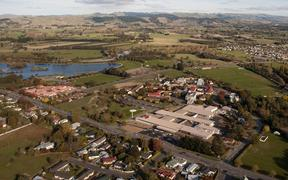 Aerial view of Masterton, including rural hospital.