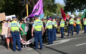 Police move Extinction Rebellion protesters off the street at Latimer Square, Christchurch.