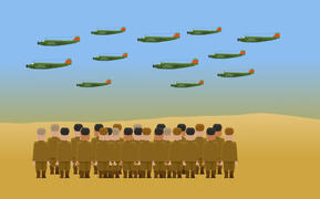 NZ soldiers on Crete watch the approach of German bombers. Animation by Chris Maguren.