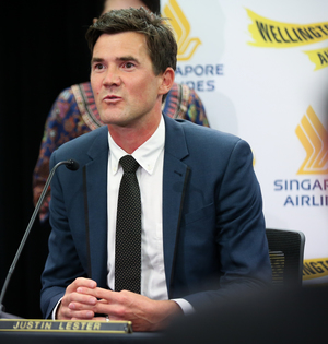 Wellington City Council Deputy Mayor Justin Lester at the Singapore Airline announcement  of flights from Wellington to Canberra.