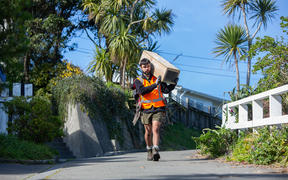 Predator-Free Miramar team member Sebastian du Feu carrying one of the 1800 trap boxes positioned in a 100-metre grid across Miramar Peninsula.