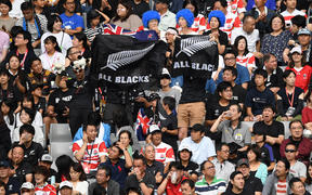 Fans and supporters of All Blacks in the match against Namibia at the 2019 Rugby World Cup.