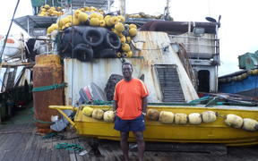 Dr. Transform Aqorau on board the F/V Lojet purse seiner in this file photo during an over two-week trip