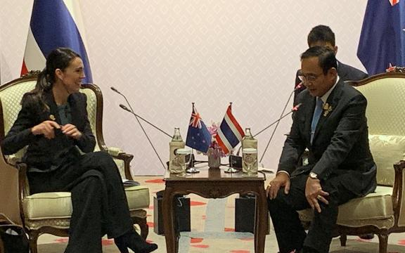 Prime Minister Jacinda Ardern meeting with Thai Prime Minister Prayut Chan-o-cha in Bangkok for the East Asian Summit.