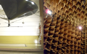 Left: the reverberation chamber where walls are tested for sound insulation properties. Right: an anechoic chamber where smaller items are checked for sound pressure levels - it's the quietest room in New Zealand.