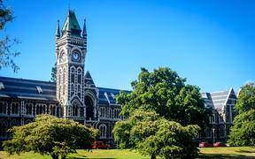 University of Otago - tower and garden, Dunedin, New Zealand