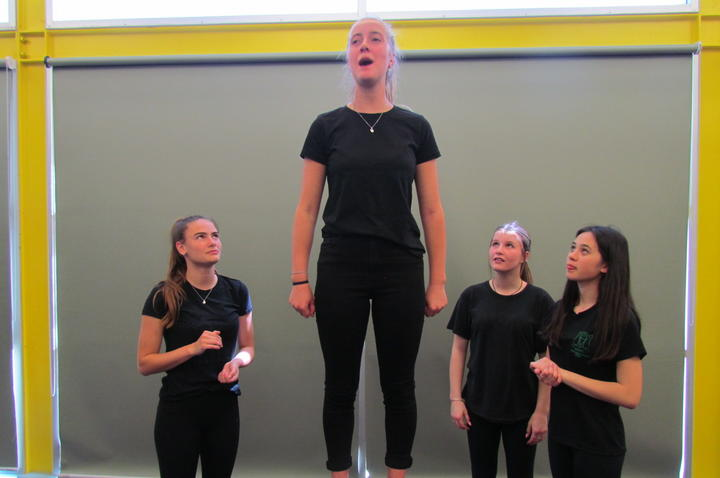 St Oran's College College Girls play about prostitute reform. In rehearsal: Phoebe,  McKenzie, Tylor and Emma.