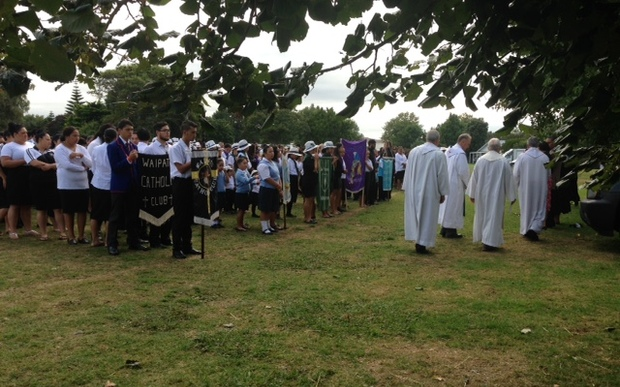 Catholic clubs line up for the religious parade on Sunday at the 70th Hui Aranga in Whanganui.