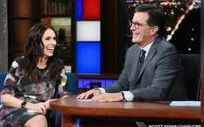 Jacinda Ardern and Stephen Colbert