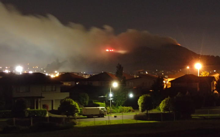Firefighters tackle blaze on Mt Wellington on Guy Fawkes night.