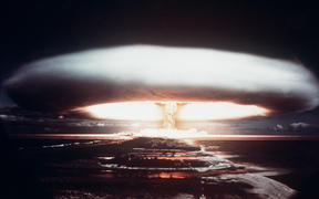 Picture taken in 1971, showing a nuclear explosion in Mururoa atoll.