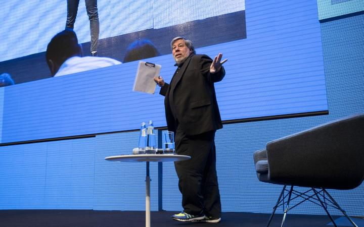 Co-Founder of Apple Steve Wozniak  is pictured during the Cube Challenge at the CUBE Tech Fair for startups in Berlin.