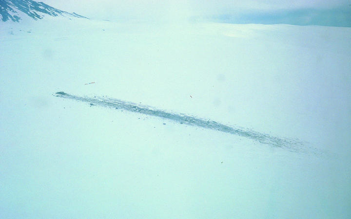 A view over the Erebus crash site not long after the disaster.