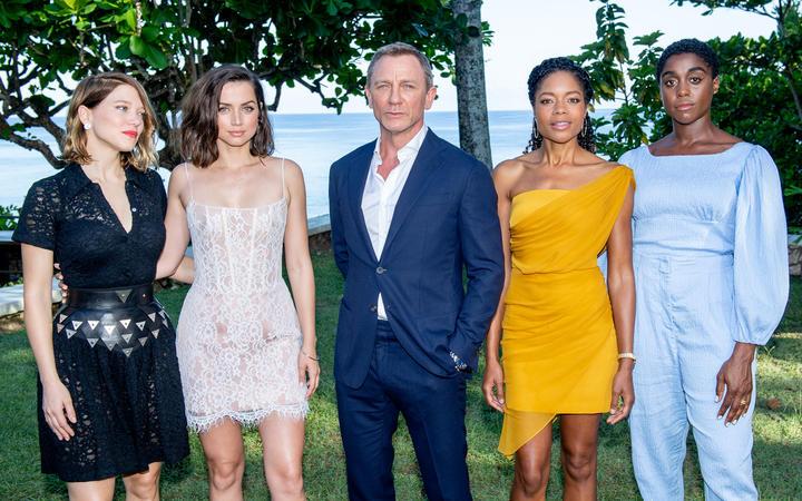 "L-R) Cast members Léa Seydoux, Ana de Armas, Daniel Craig, Naomie Harris and Lashana Lynch attend the ""Bond 25"" Film Launch."